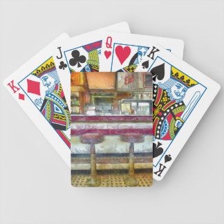 Classic Diner Stools Watercolor Bicycle Playing Cards
