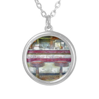 Classic Diner Stools Watercolor Silver Plated Necklace