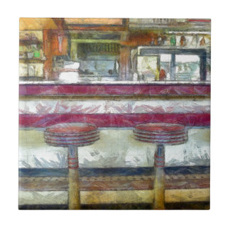 Classic Diner Stools Watercolor Tile