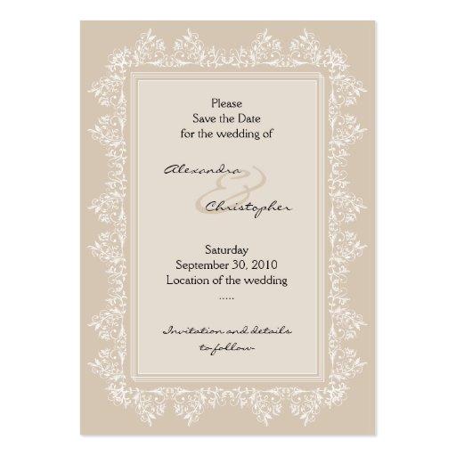 Classic Elegant Damask Save The Date Wedding Mini Business Card Templates