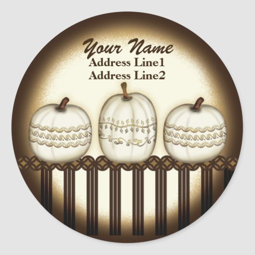 Classic Elegant Pumpkin Address Label Round Stickers