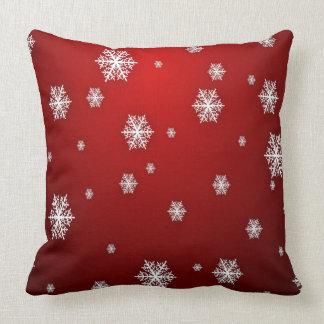 Classic Elegant Snowflake Pattern Red Christmas Throw Pillow