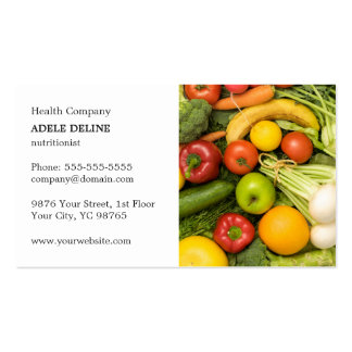 Classic Elegant Vegetable Nutritionist Coach Pack Of Standard Business Cards