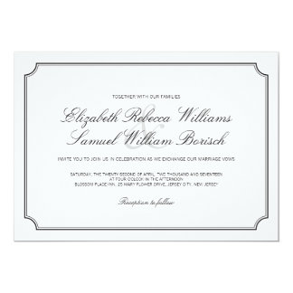 Classic Elegant White Simple Wedding Invite