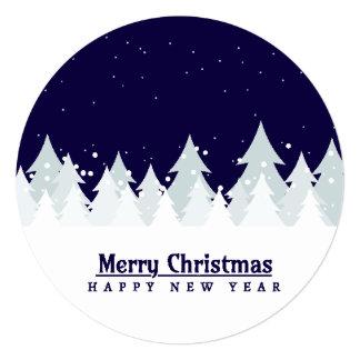 Classic & elegant winter pines customizable color 13 cm x 13 cm square invitation card