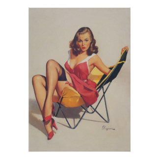 Classic Elvgren 1950s Vintage Pin Up Girl Poster