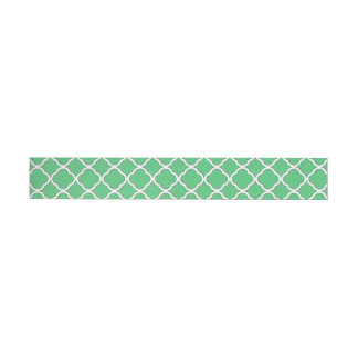 Classic Emerald Green Quatrefoil Maroccan Pattern Wraparound Address Label