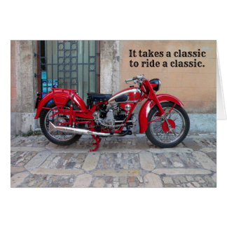 Classic Euro Moto Guzzi Motorcycle Birthday Card