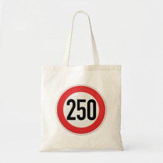 Classic Europe Speed Sign 250 Kilometres per hour Canvas Bags