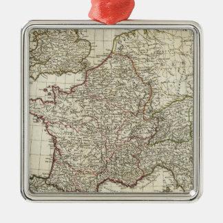 Classic European Map Silver-Colored Square Decoration