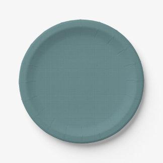 Classic Faux Linen Smalt Blue 7 Inch Paper Plate