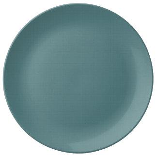 Classic Faux Linen Smalt Blue Porcelain Plates