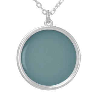 Classic Faux Linen Smalt Blue Silver Plated Necklace