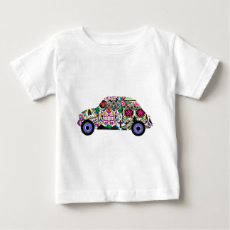 Classic Fiat With Sugar Skulls Baby T-Shirt