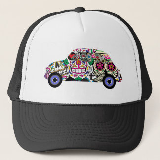 Classic Fiat With Sugar Skulls Trucker Hat