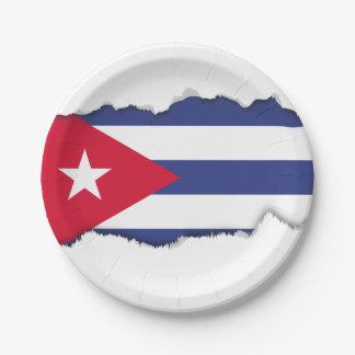 Classic Flag of Cuba 7 Inch Paper Plate