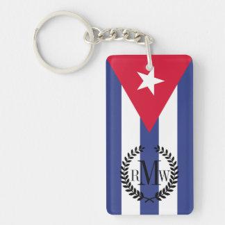 Classic Flag of Cuba Double-Sided Rectangular Acrylic Key Ring