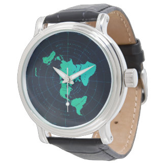 Classic Flat Earth Naval-Style Black Wristwatch