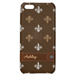 Classic Fleur-de-lis Pattern with Stitched Leather iPhone 5C Case
