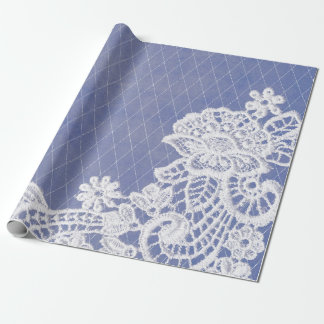 Classic Floral Grey Blue White Lace Wrapping Paper