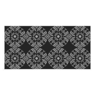 Classic Floral Motif Pattern Black and Gray Photo Card Template