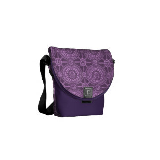 Classic Floral Pattern in Purple Messenger Bag