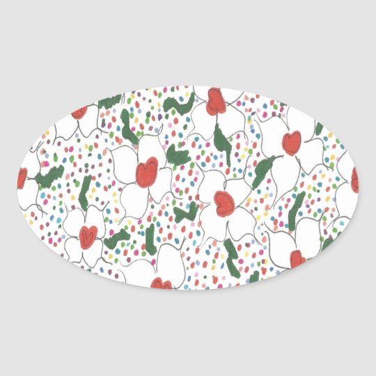 Classic Floral Pattern Oval Sticker