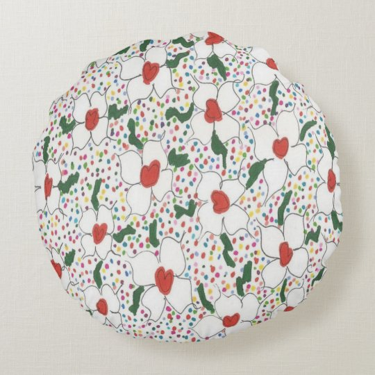 Classic Floral Pattern Round Cushion