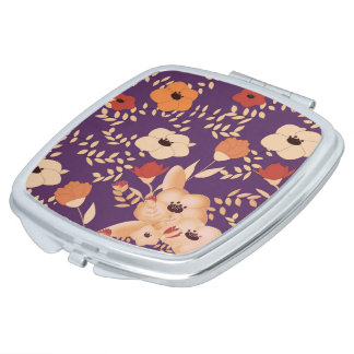 classic floral printing travel mirror