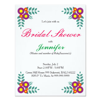 Classic Flower's & Leaves bridal shower invitation