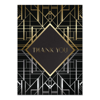 Classic Gatsby Deco Wedding Thank You 2 Card
