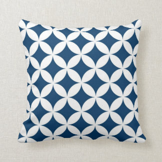 Classic Geometric Circles in Navy Blue and White Throw Cushion
