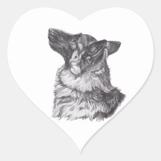 Classic German Shepherd profile Portrait Drawing Heart Sticker