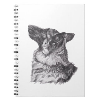 Classic German Shepherd profile Portrait Drawing Notebooks