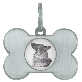 Classic German Shepherd profile Portrait Drawing Pet ID Tag