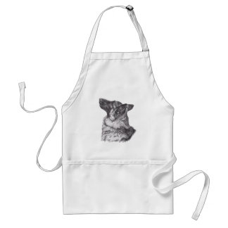 Classic German Shepherd profile Portrait Drawing Standard Apron