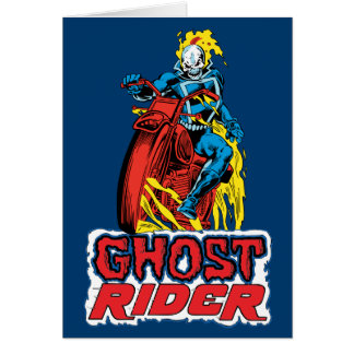 Classic Ghost Rider On Flaming Motorcycle Card