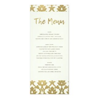 CLASSIC GOLD DAMASK FLORAL PATTERN MENU CARD