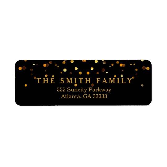 Classic Gold Glitters Dots Black Modern Return Address Label