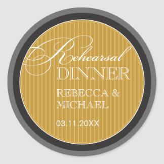 Classic Gold Pinstripe Rehearsal Dinner Sticker