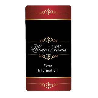 Classic Gold Red Black Wine Label
