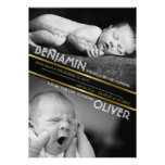 Classic Gold Ribbon Baby Twins Birth Announcement