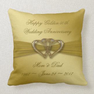 Classic Golden 50th Anniversary Throw Pillow