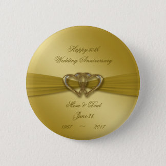 Classic Golden 50th Wedding Anniversary Button