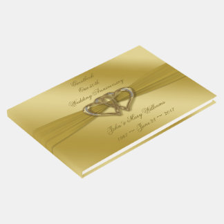 Classic Golden 50th Wedding Anniversary Guestbook