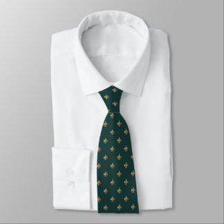 Classic golden fleur de lis on dark sea green tie