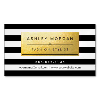Classic Golden Label with Black White Stripes Magnetic Business Cards