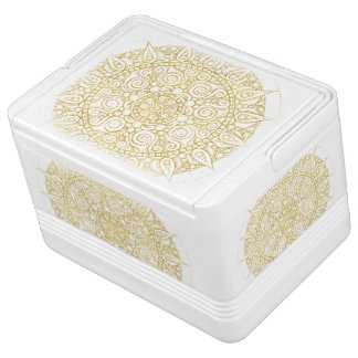 Classic Golden Mandala Print on crisp white Cooler