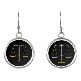 Classic Golden Scales of Justice Earrings