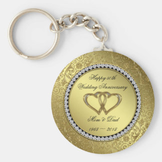 Classic Golden Wedding Anniversary Key Chain